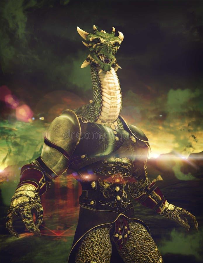 Δρακόντειος πολεμιστής φαντασίας απεικόνιση αποθεμάτων