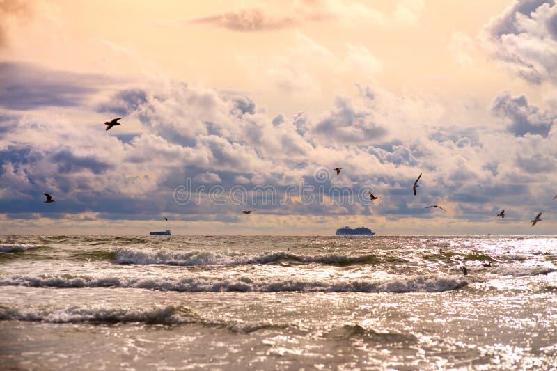 Δραματικό ηλιοβασίλεμα πέρα από τη θάλασσα της Βαλτικής στο καλοκαίρι Πορφυρά σύννεφα που αιωρούνται πέρα από τα κύματα τη θερμή  στοκ φωτογραφίες