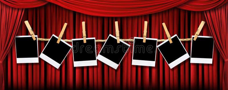 δραματικό κόκκινο θέατρο polaroids drapes lig διανυσματική απεικόνιση