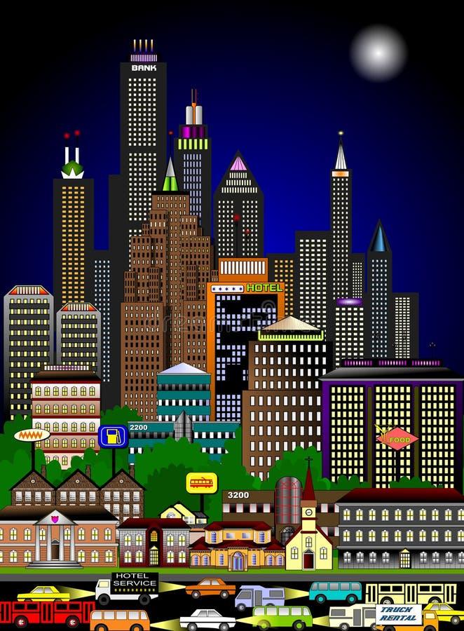 δραστήρια νύχτα εικονικής παράστασης πόλης απεικόνιση αποθεμάτων
