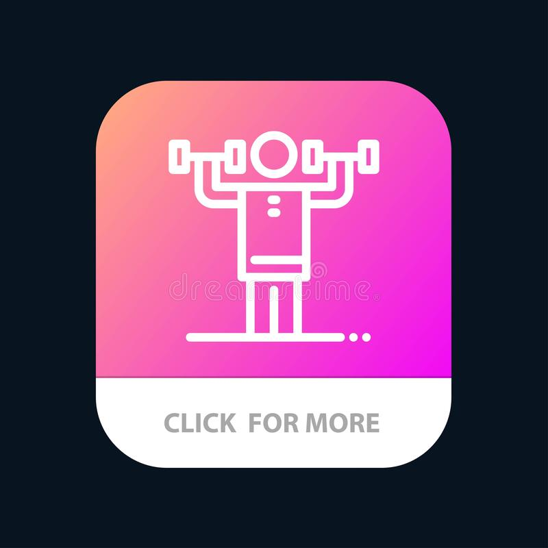 Δραστηριότητα, πειθαρχία, ανθρώπινος, φυσικός, κινητό App δύναμης κουμπί Έκδοση αρρενωπών και IOS γραμμών απεικόνιση αποθεμάτων