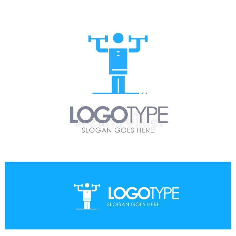 Δραστηριότητα, πειθαρχία, ανθρώπινος, φυσικός, μπλε στερεό λογότυπο δύναμης με τη θέση για το tagline διανυσματική απεικόνιση