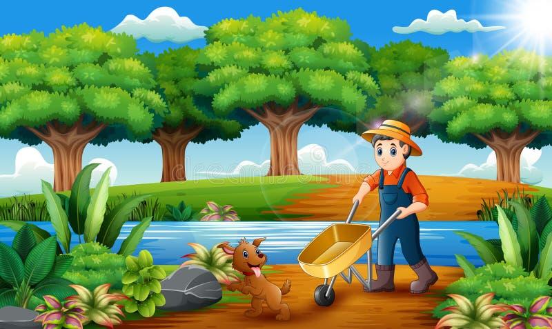 Δραστηριότητες καλλιέργειας στο πάρκο με τα ζώα απεικόνιση αποθεμάτων