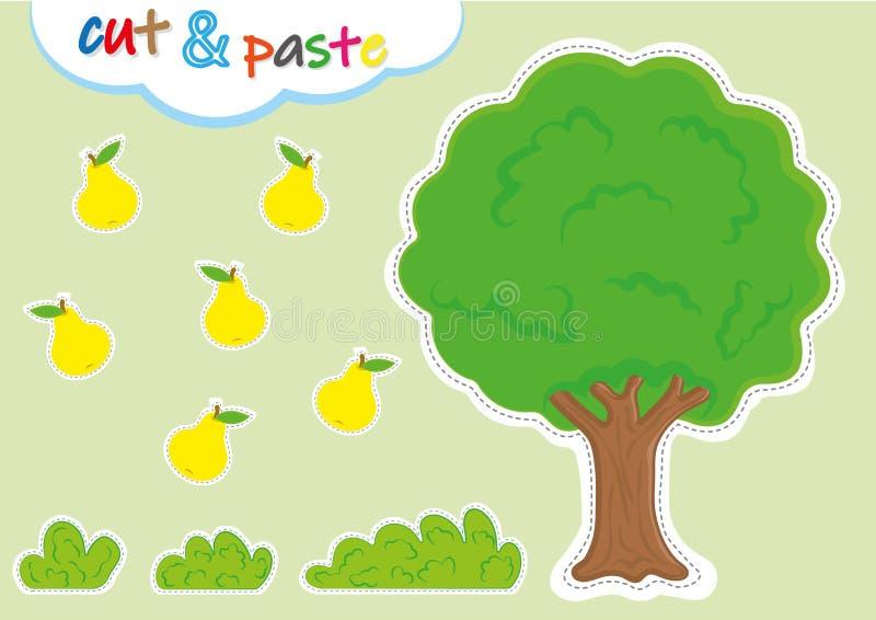δραστηριότητες cut-$l*and-$l*paste για τον παιδικό σταθμό, τα προσχολικά τέμνοντα και φύλλα εργασίας συγκόλλησης διανυσματική απεικόνιση