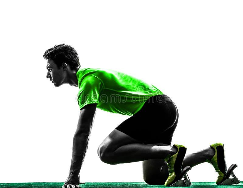 Δρομέας ατόμων sprinter στην αρχική σκιαγραφία φραγμών στοκ εικόνα με δικαίωμα ελεύθερης χρήσης