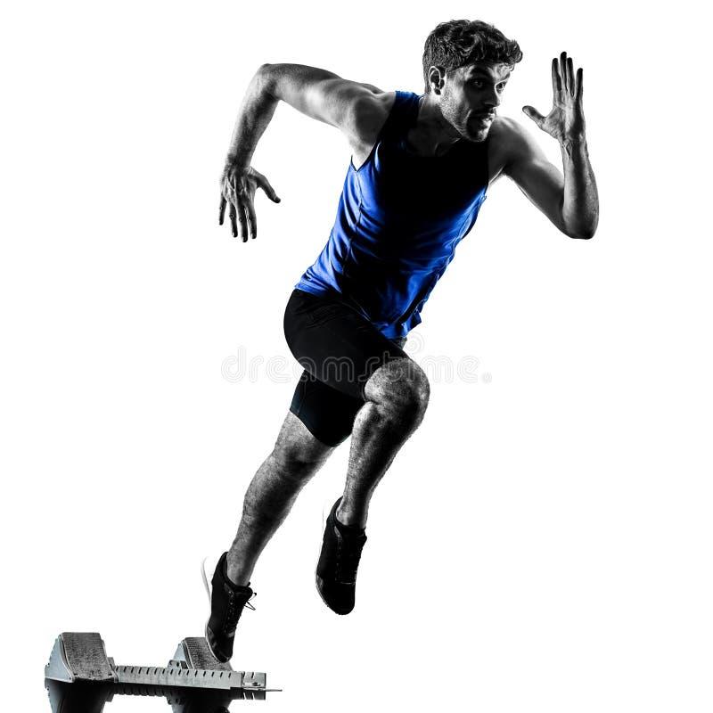 Δρομέας sprinter που τρέχει τρέχοντας γρήγορα το isola σκιαγραφιών ατόμων αθλητισμού στοκ φωτογραφίες