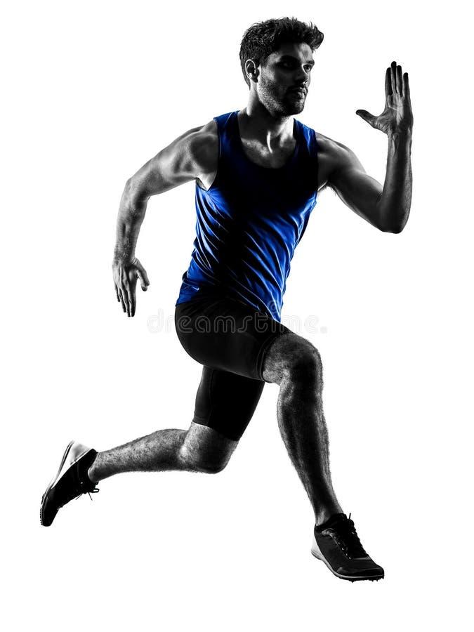 Δρομέας sprinter που τρέχει τρέχοντας γρήγορα το isola σκιαγραφιών ατόμων αθλητισμού στοκ φωτογραφία με δικαίωμα ελεύθερης χρήσης