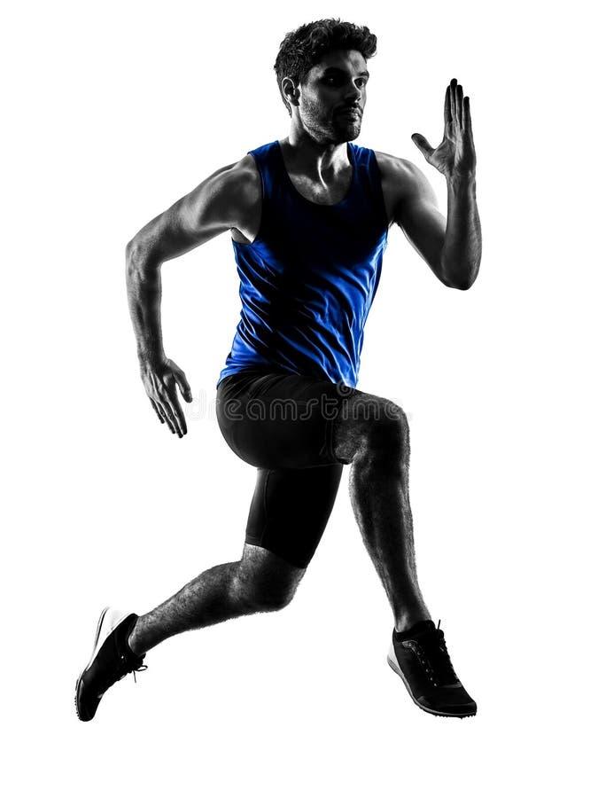 Δρομέας sprinter που τρέχει τρέχοντας γρήγορα το isola σκιαγραφιών ατόμων αθλητισμού στοκ φωτογραφία