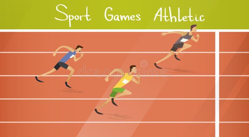 Δρομέων αθλητικός ανταγωνισμός διαδρομής ορμής αθλητών τρέχοντας απεικόνιση αποθεμάτων