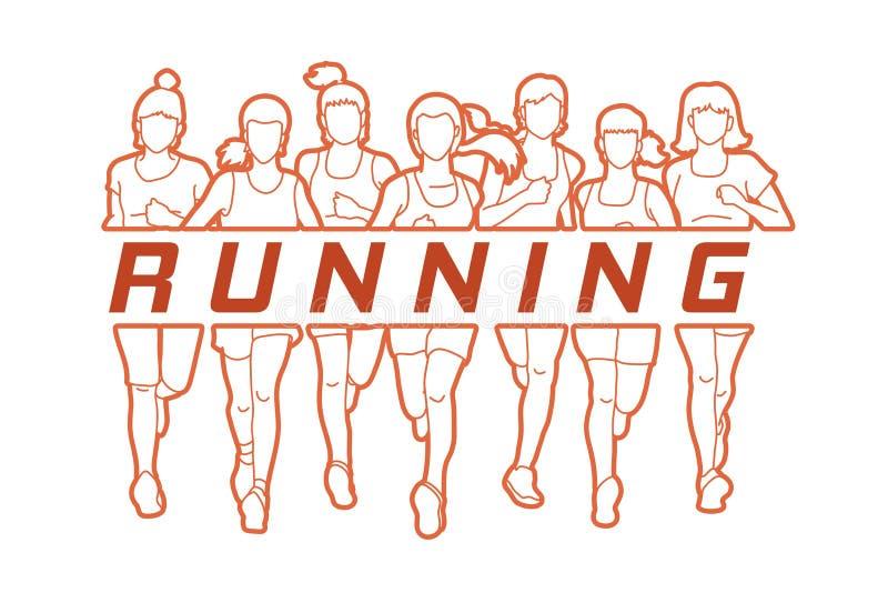 Δρομείς μαραθωνίου, ομάδα γυναικών που τρέχουν με το τρέξιμο κειμένων διανυσματική απεικόνιση
