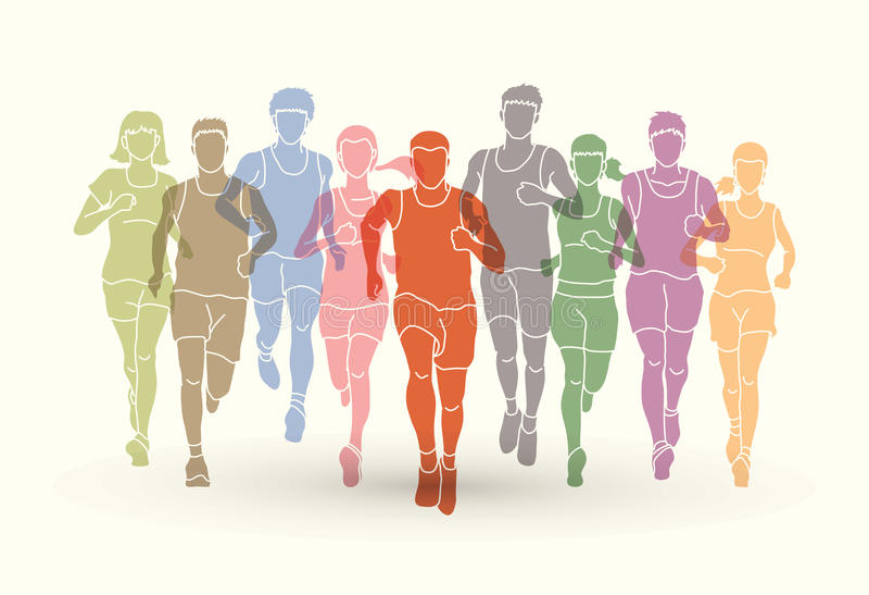 Δρομείς μαραθωνίου, ομάδα ανθρώπων που τρέχουν, τρέξιμο ανδρών και γυναικών απεικόνιση αποθεμάτων