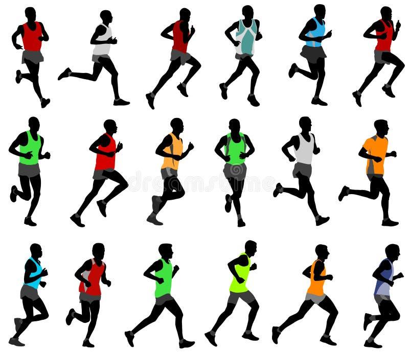 Δρομείς στις χρωματισμένες sportswear σκιαγραφίες διανυσματική απεικόνιση