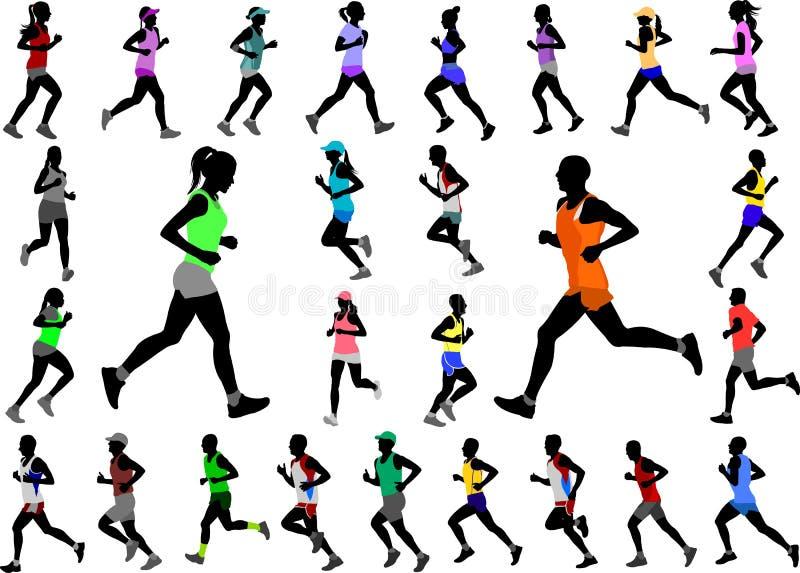 Δρομείς sportswear χρώματος στη συλλογή σκιαγραφιών ελεύθερη απεικόνιση δικαιώματος
