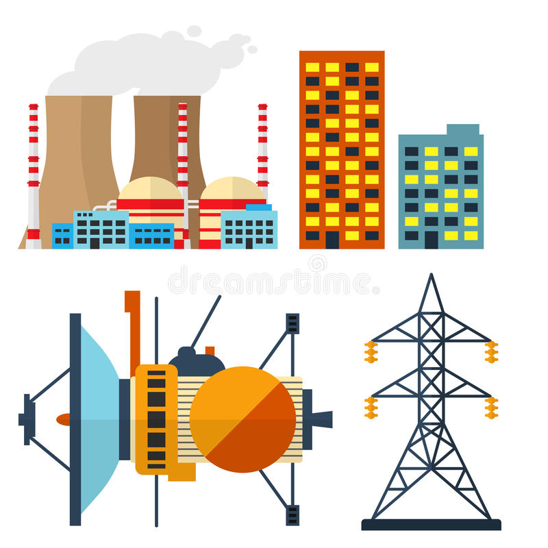 Δροσίζοντας πύργος πυρηνικών σταθμών του διανυσματικού ηλεκτρικής ενέργειας καπνού καπνοδόχων σταθμών ρύπανσης περιβάλλοντος βιομ ελεύθερη απεικόνιση δικαιώματος
