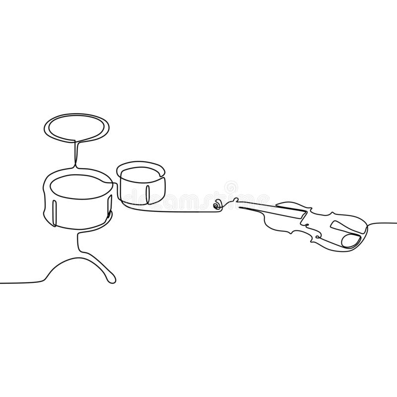 δροσίστε το μικρά τύμπανο και το βιολί ένα γραμμών συνεχές διανυσματικό περίγραμμα οργάνων γραμμών παραδοσιακό μουσικό που τίθετα απεικόνιση αποθεμάτων