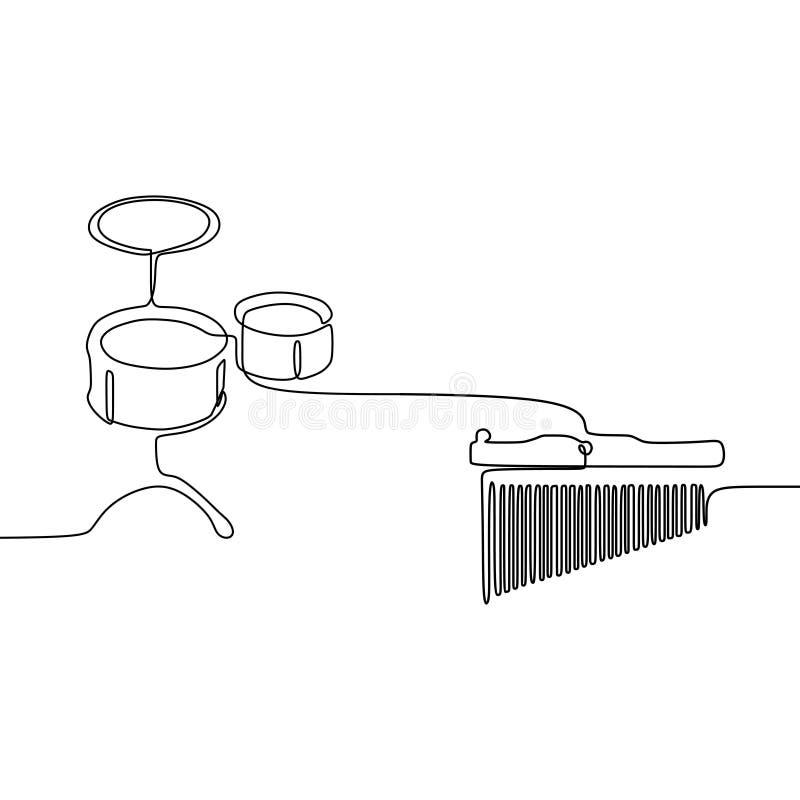 δροσίστε το μικρό τύμπανο και το μικρό angklung ένα γραμμών συνεχές διανυσματικό περίγραμμα οργάνων γραμμών παραδοσιακό μουσικό π ελεύθερη απεικόνιση δικαιώματος