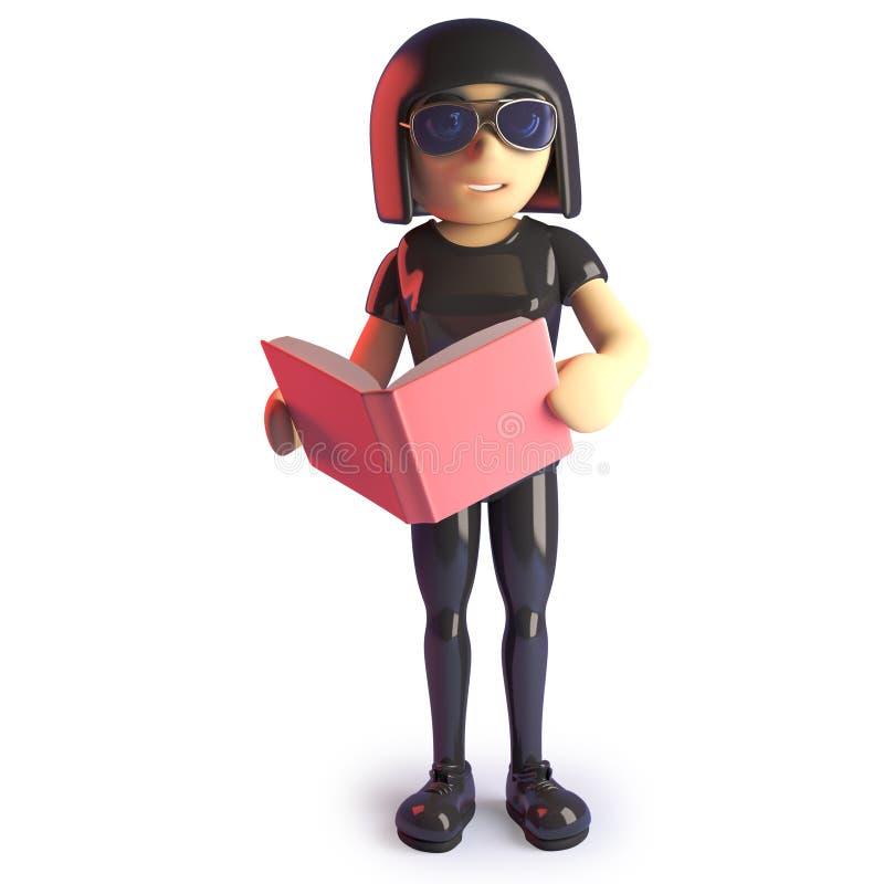 Δροσίστε goth το κορίτσι που διαβάζει ένα βιβλίο για τις μελέτες της, τρισδιάστατη απεικόνιση διανυσματική απεικόνιση