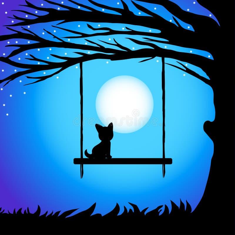 Δροσίστε siluet τους κλάδους του δέντρου με τη γάτα στην ταλάντευση ενάντια στο νυχτερινό ουρανό σε μια πανσέληνο διανυσματική απεικόνιση