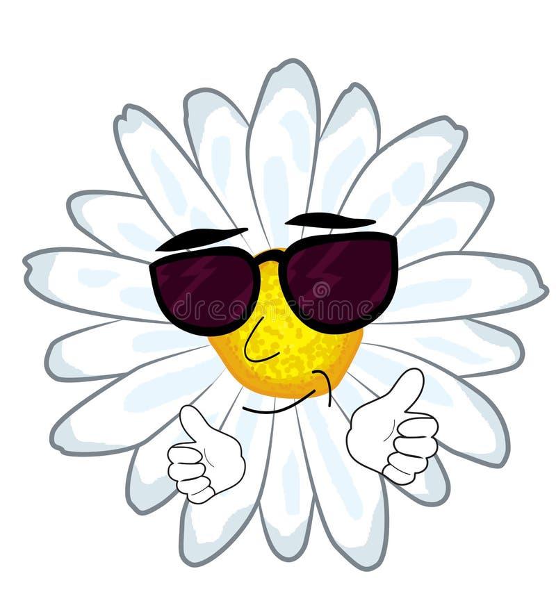 Δροσερά κινούμενα σχέδια λουλουδιών Chamomile ελεύθερη απεικόνιση δικαιώματος
