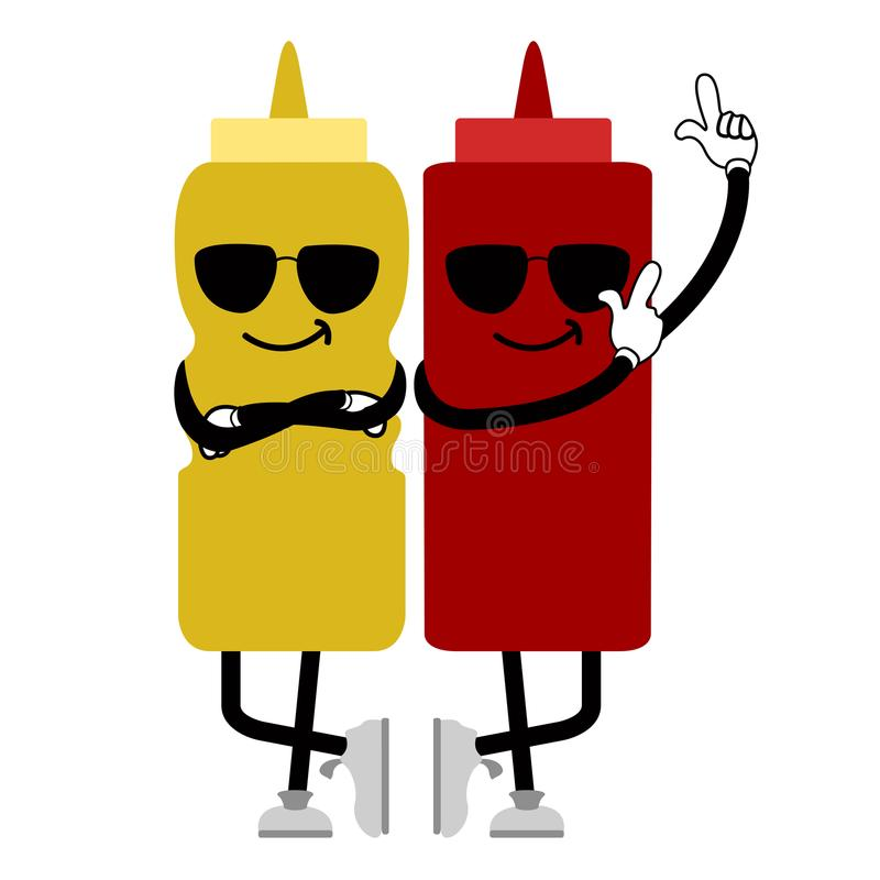 Δροσερά μπουκάλια σάλτσας με τα γυαλιά ηλίου Γρήγορο φαγητό διανυσματική απεικόνιση