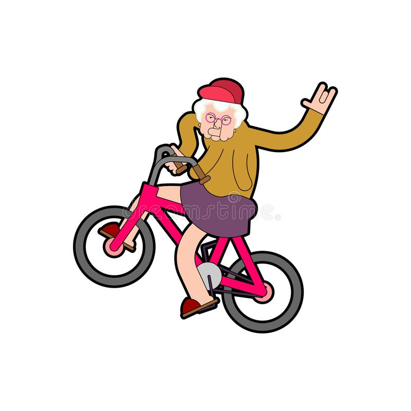 Δροσερή γιαγιά στο ποδήλατο Grandma σε BMX Ηλικιωμένη κυρία σύγχρονη VE απεικόνιση αποθεμάτων