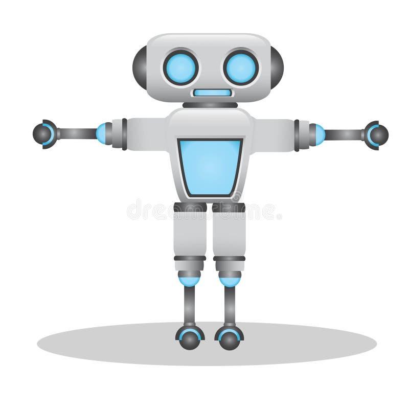 Δροσερή και χαριτωμένη τρισδιάστατη απεικόνιση ρομπότ διανυσματική απεικόνιση