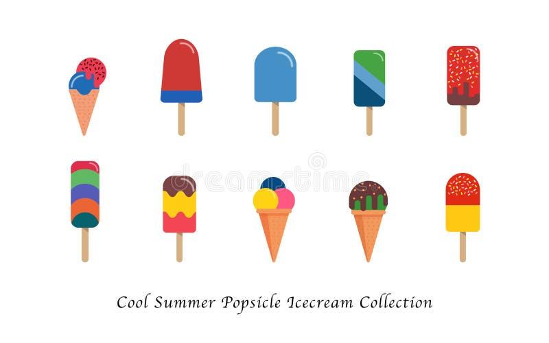Δροσερή συλλογή επιδορπίων θερινού popsicle παγωτού γλυκιά ζωηρόχρωμη απεικόνιση αποθεμάτων