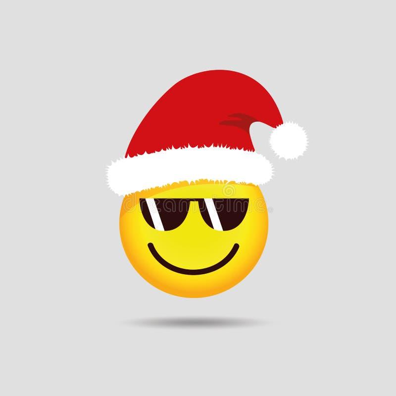 Δροσερός Άγιος Βασίλης emoticon με το emoji smiley γυαλιών ηλίου ελεύθερη απεικόνιση δικαιώματος