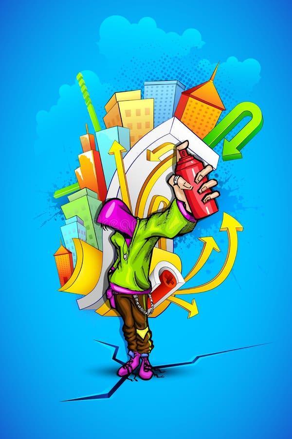 δροσερός τύπος γκράφιτι αστικός ελεύθερη απεικόνιση δικαιώματος