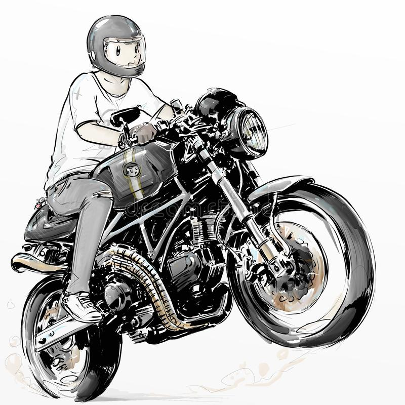 Δροσερό αγόρι που οδηγά τη μοτοσικλέτα ινών άνθρακα δρομέων καφέδων του στοκ φωτογραφίες