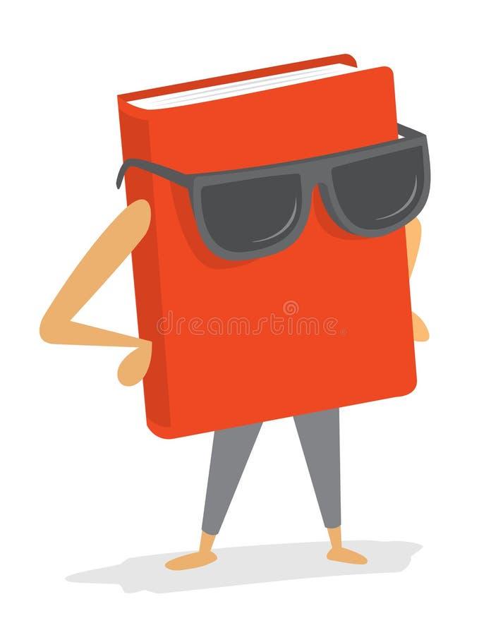Δροσερό κόκκινο βιβλίο που φορά τα γυαλιά ηλίου απεικόνιση αποθεμάτων
