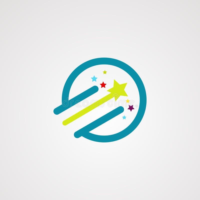 Δροσερό λογότυπο, εικονίδιο, στοιχείο, και πρότυπο αστεριών κύκλων απεικόνιση αποθεμάτων