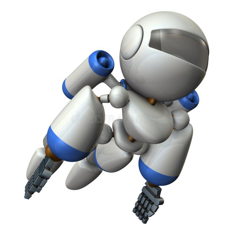 Δροσερό ρομπότ που πετά στον ουρανό Είναι έντονα γενναίο απεικόνιση αποθεμάτων