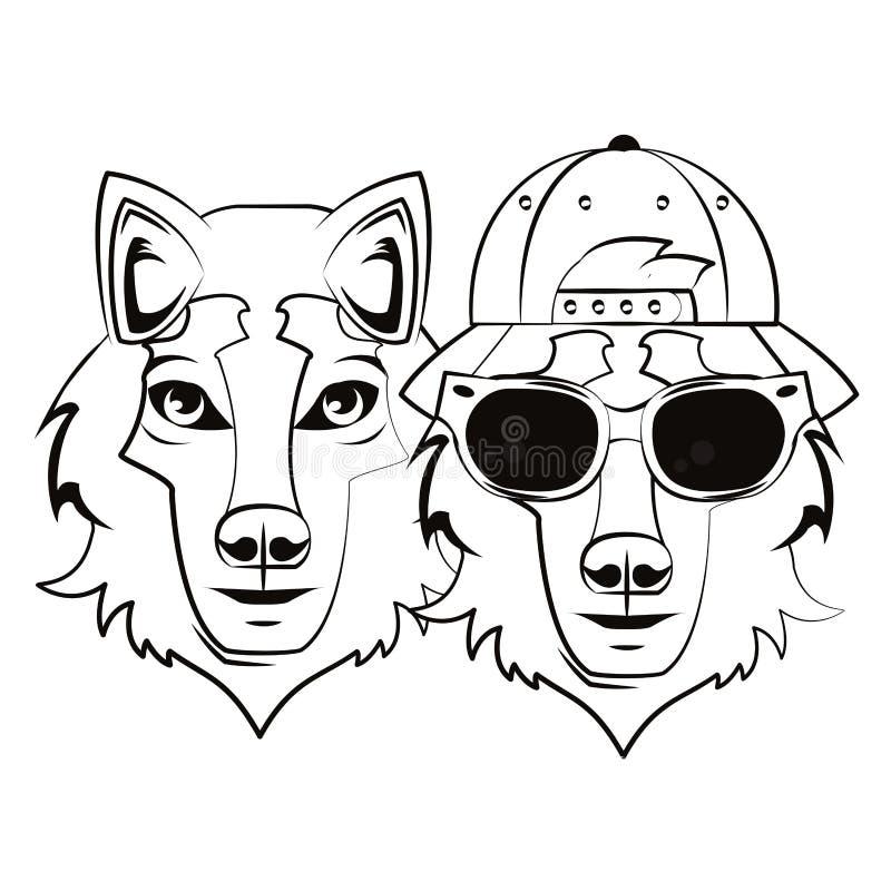 Δροσερό σκίτσο Hipster wolfs απεικόνιση αποθεμάτων