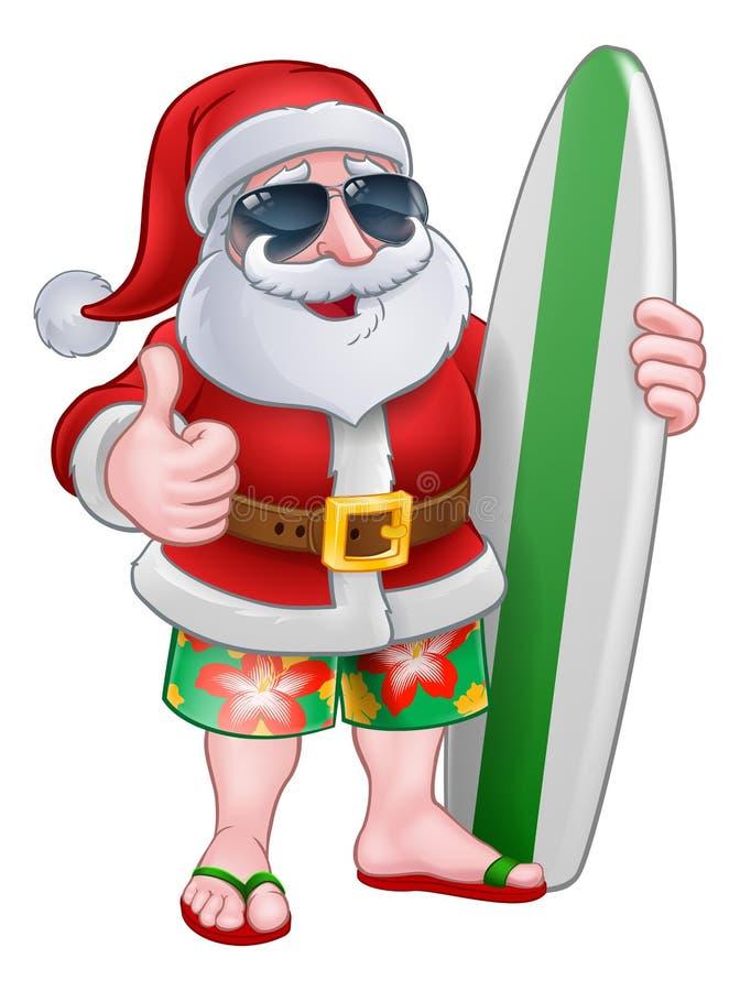 Δροσερό Santa με την ιστιοσανίδα και τα κινούμενα σχέδια γυαλιών ηλίου διανυσματική απεικόνιση