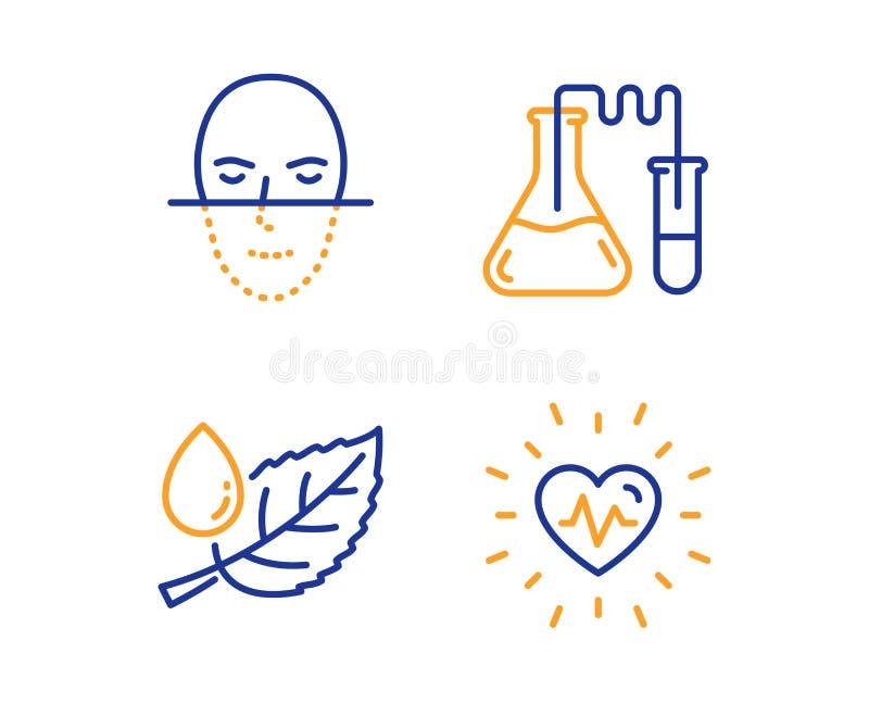 Δροσιά φύλλων, εργαστήριο χημείας και εικονίδια αναγνώρισης προσώπου καθορισμένες Σημάδι κτύπου της καρδιάς διάνυσμα διανυσματική απεικόνιση