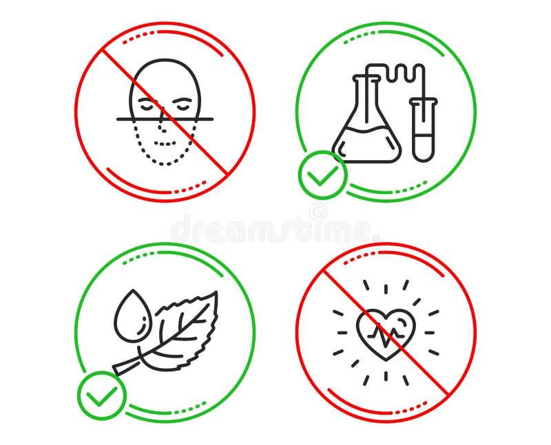 Δροσιά φύλλων, εργαστήριο χημείας και εικονίδια αναγνώρισης προσώπου καθορισμένες Σημάδι κτύπου της καρδιάς r απεικόνιση αποθεμάτων