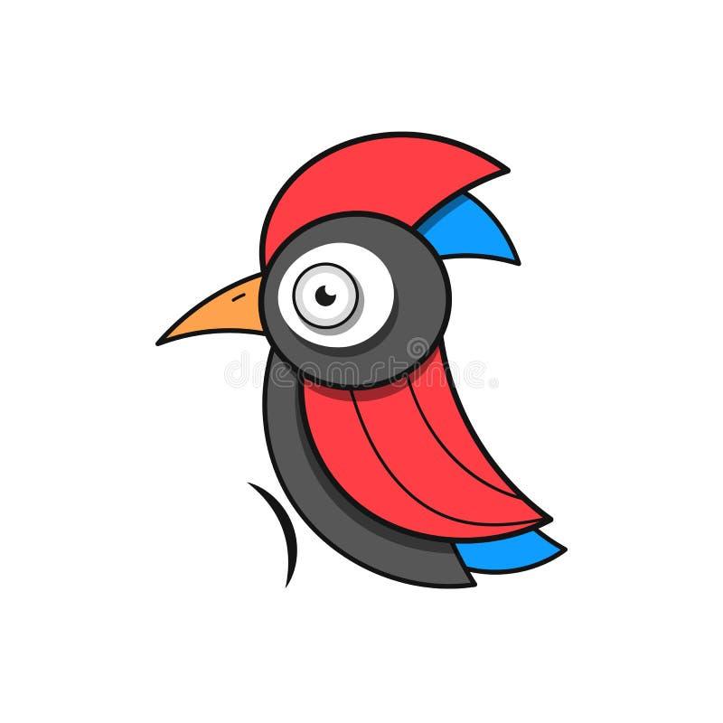 Δρυοκολάπτης Ζωική αφηρημένη διανυσματική επιχείρηση Icon Nature Company άγριας φύσης ζωολογικών κήπων προτύπων πουλιών ελεύθερη απεικόνιση δικαιώματος