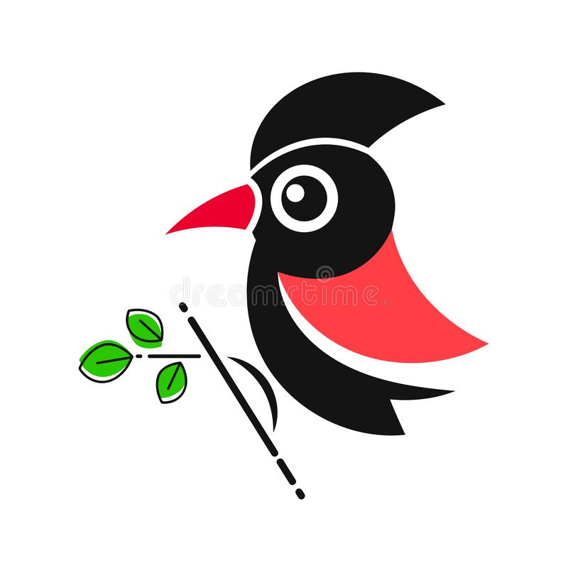 Δρυοκολάπτης Ζωική αφηρημένη διανυσματική επιχείρηση Icon Nature Company άγριας φύσης ζωολογικών κήπων προτύπων πουλιών απεικόνιση αποθεμάτων