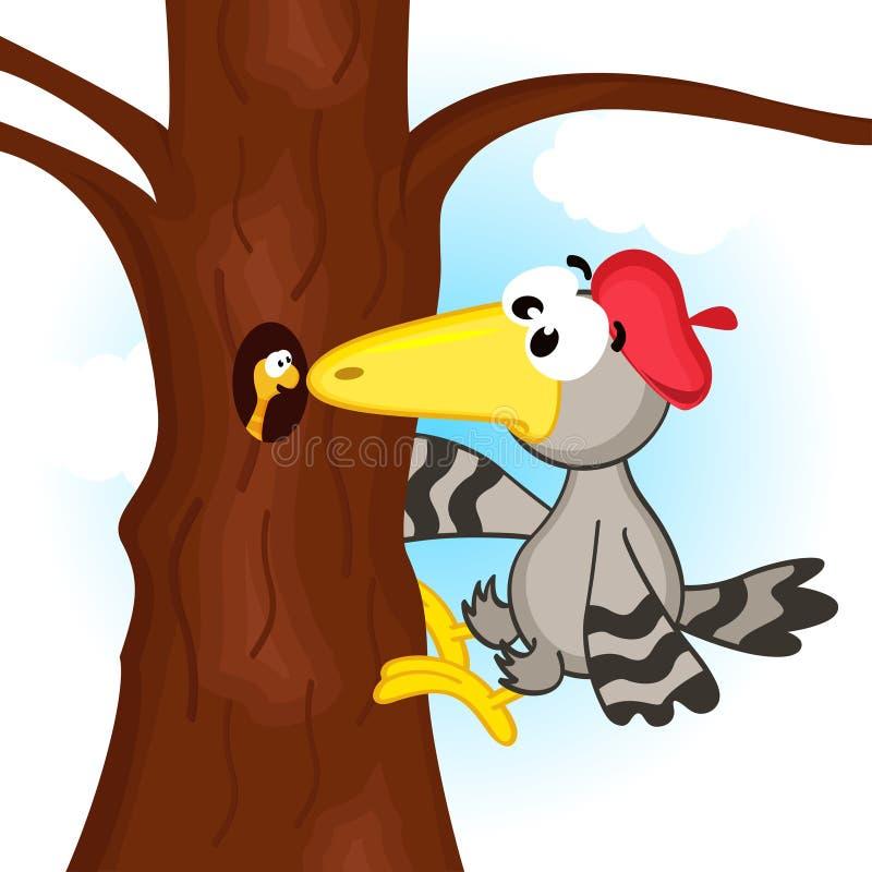 Δρυοκολάπτης στο δέντρο διανυσματική απεικόνιση