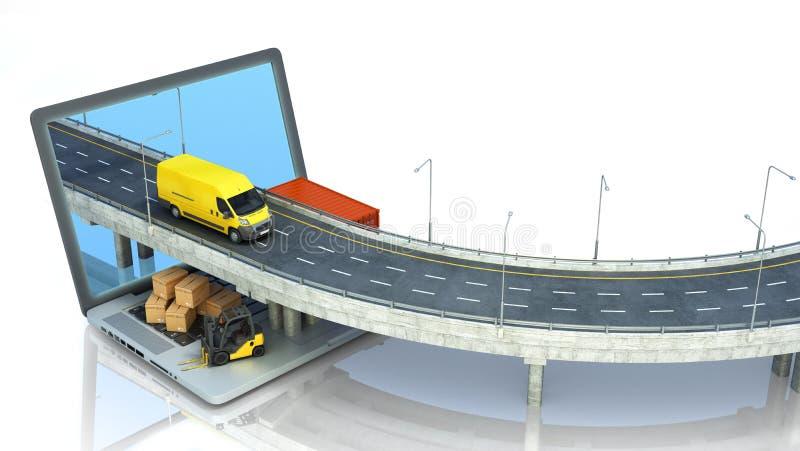 Δρόμος έννοιας μεταφορών από το lap-top στο οδικό πηγαίνοντας φορτηγό υπάρχουν κιβώτια και ένας φορτωτής στο lap-top τρισδιάστατο απεικόνιση αποθεμάτων