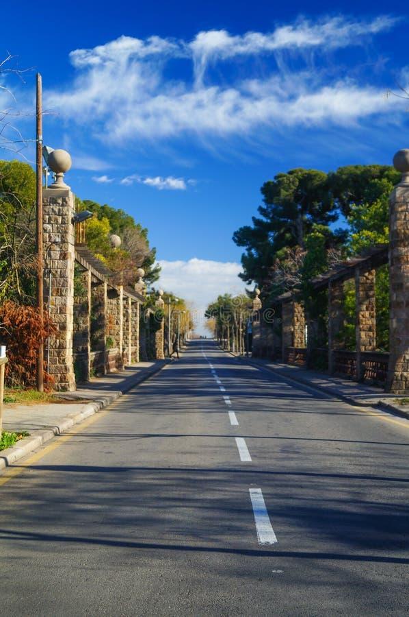 Δρόμος ασφάλτου μέσω του πράσινου τομέα και σύννεφα στο μπλε ουρανό στοκ φωτογραφία με δικαίωμα ελεύθερης χρήσης