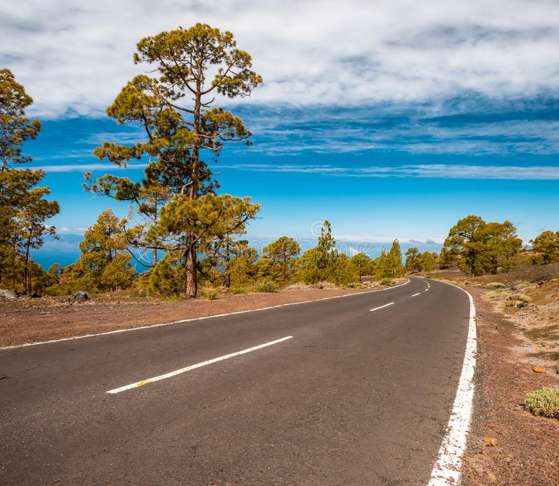Δρόμος ασφάλτου στην ηφαιστειακή έρημο Tenerife, καναρίνι στοκ φωτογραφία