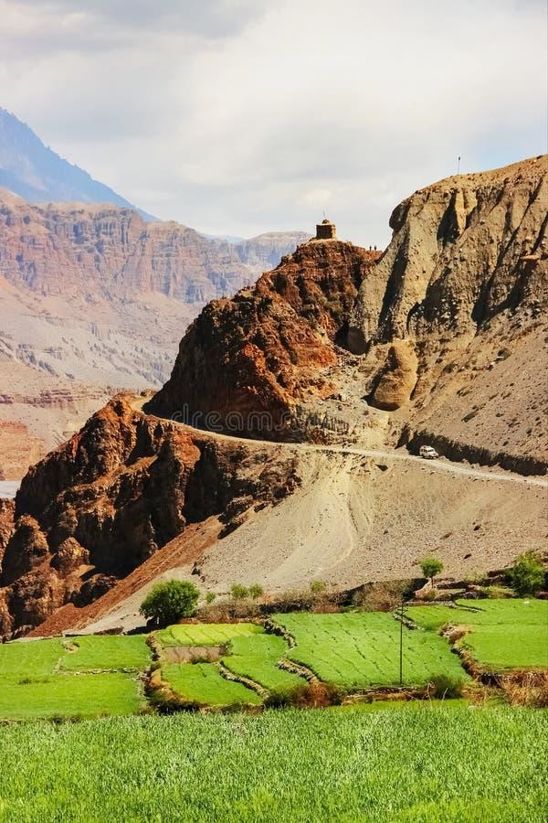 Δρόμος βουνών και πράσινοι τομείς σε ένα φαράγγι βουνών Νεπάλ Τα βουνά Himalayan Βασίλειο του χαμηλότερου μάστανγκ ` ` Να πραγματ στοκ εικόνες με δικαίωμα ελεύθερης χρήσης