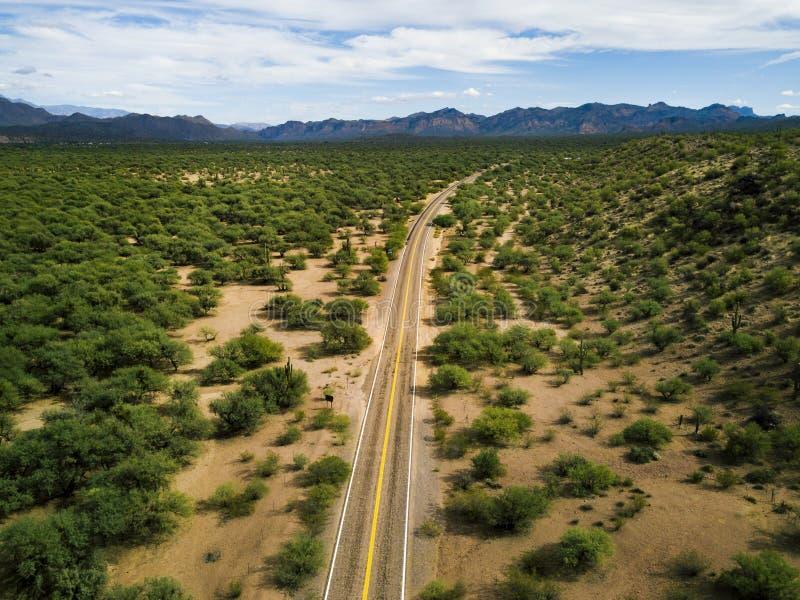 Δρόμος ερήμων με την κεραία των Μπους και κάκτων στοκ φωτογραφίες