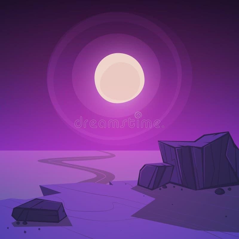 Δρόμος ερήμων τη νύχτα διανυσματική απεικόνιση