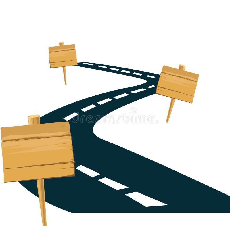 Δρόμος και οδικά ξύλινα σημάδια διάνυσμα ελεύθερη απεικόνιση δικαιώματος