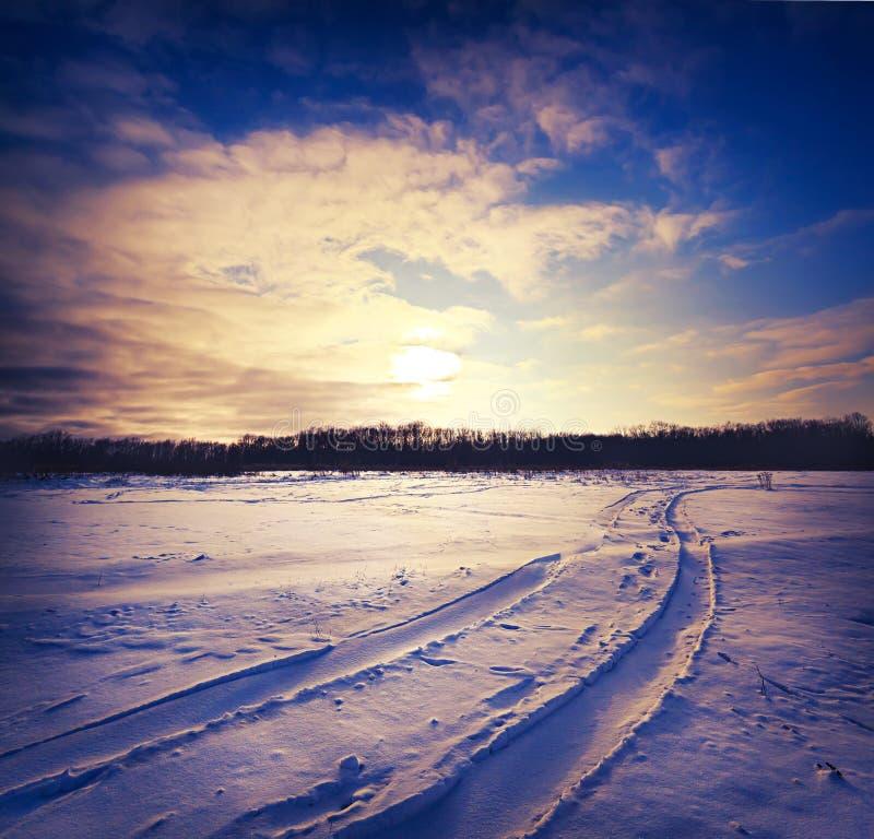 Δρόμος μέσω του χιονώδους τομέα στοκ εικόνες με δικαίωμα ελεύθερης χρήσης