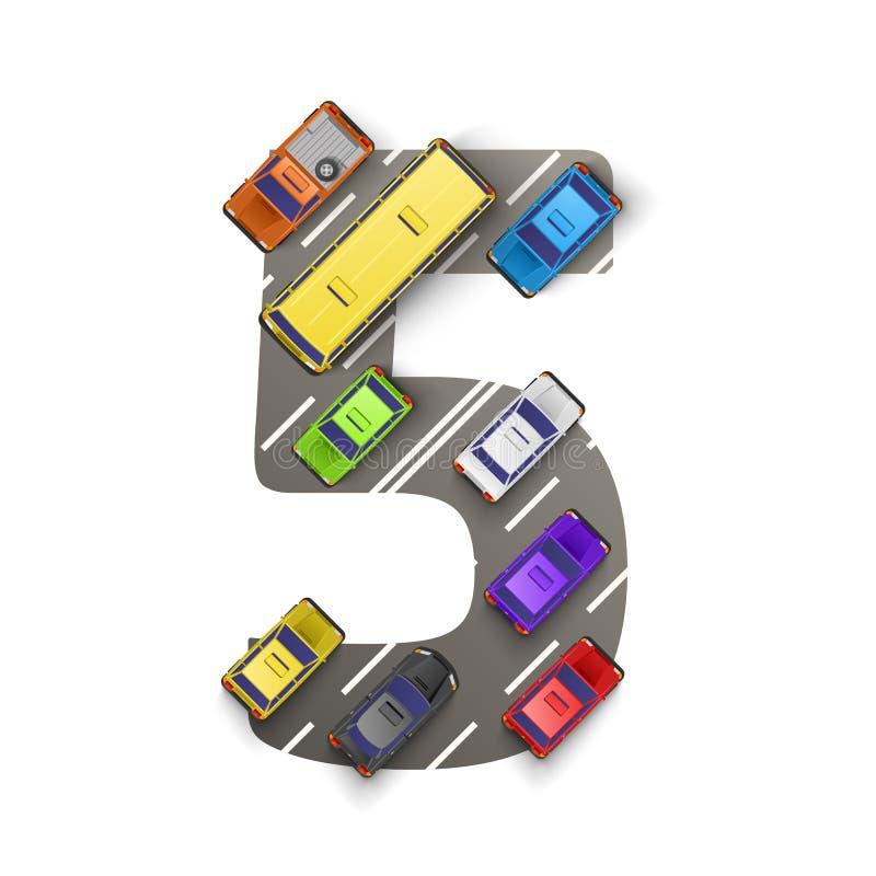 Δρόμος με τα αυτοκίνητα υπό μορφή αριθμού πέντε επίσης corel σύρετε το διάνυσμα απεικόνισης απεικόνιση αποθεμάτων