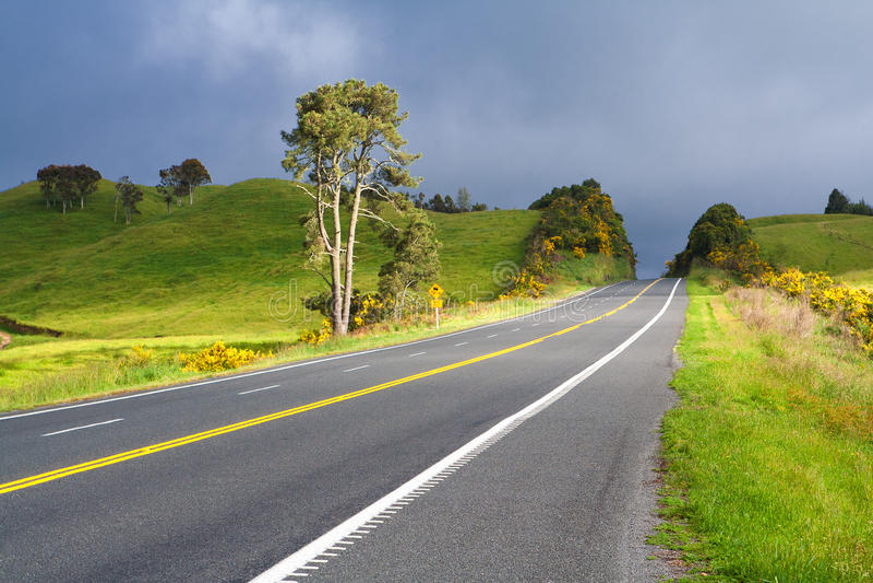 Δρόμος με τη χρωματισμένη διπλή κίτρινη γραμμή, Νέα Ζηλανδία στοκ φωτογραφίες με δικαίωμα ελεύθερης χρήσης